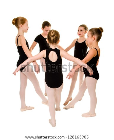 Five Pretty Young Ballerina Girl Dancers in Class - stock photo