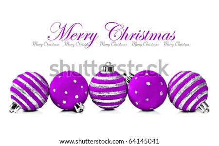 Five purple christmas decoration ball on a white background with space for text - stock photo