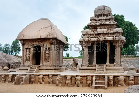 Five rathas complex with  in Mamallapuram, Tamil Nadu, India . Unesco World Heritage. - stock photo