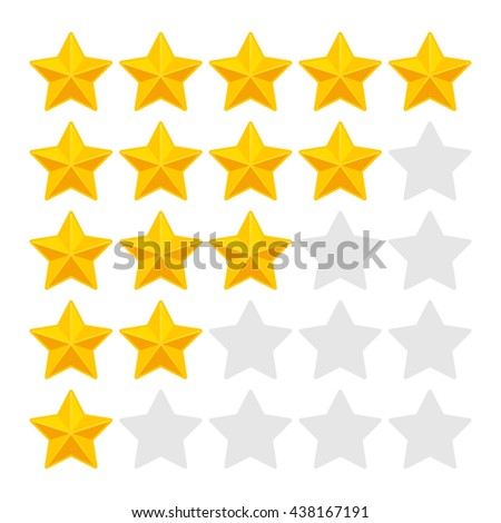 Five Rating Stars on White Background. illustration - stock photo