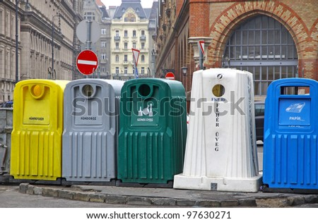 Five recycle bins for waste segregation in Budapest, Hungary - stock photo