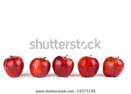 five red apple isolated on white - stock photo