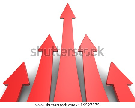 Five red arrows on white background