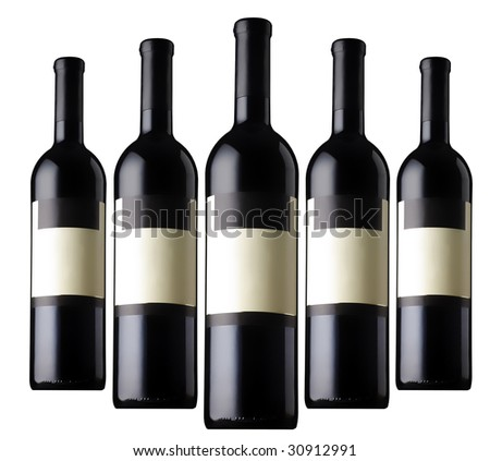 Five Red Wine Bottles - stock photo