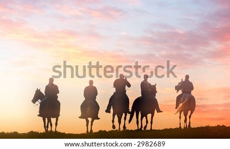 five riders - vector version available - stock photo