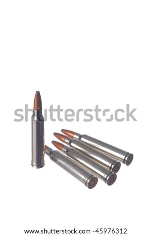 Five rifle cartridges isolated on white background - stock photo