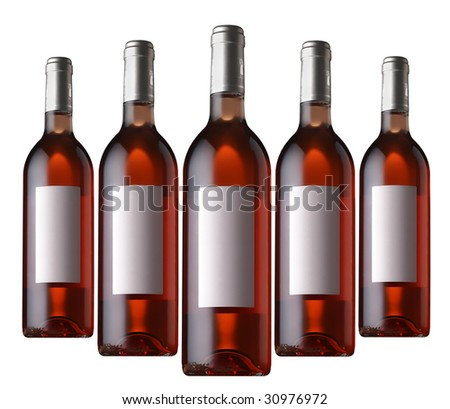 five rose wine bottles - stock photo