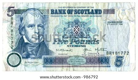 five scots pounds - stock photo