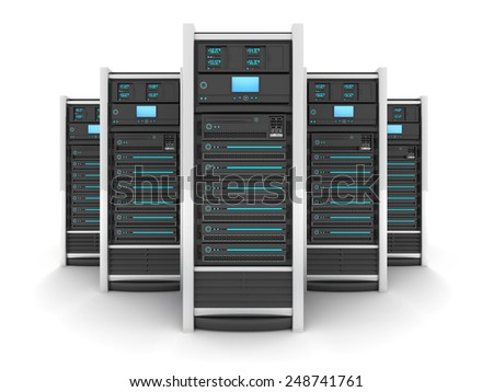 Five Server high-end, view front (done in 3d)  - stock photo