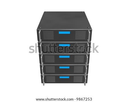 five servers stacked together - stock photo