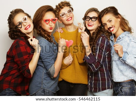 five  sexy hipster girls best friends ready for party