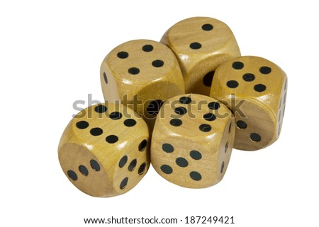 five shiny wooden dice with black dots
