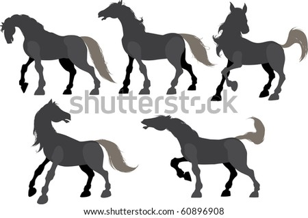 Five silhouette frolicking horses isolated on white. Raster Version