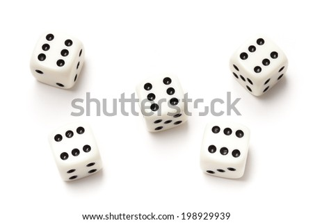 Five sixes dices isolated on white background. - stock photo