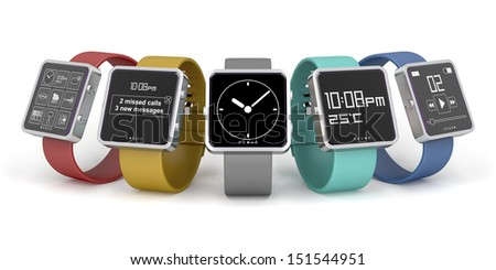 Five smart watches with different interfaces and colors - stock photo
