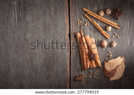 Five spices stewed ingredients with low key scene - stock photo