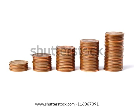 Five stacks of coins 5-cent increase in height and isolated on white background - stock photo