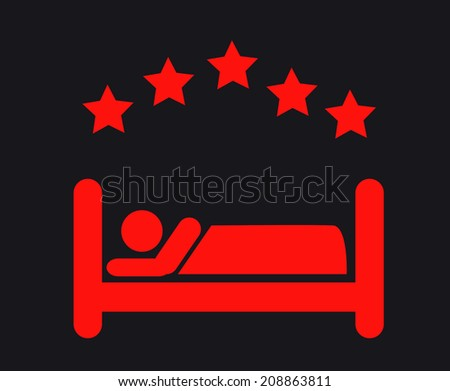 Five star Hotel apartment sign icon. Travel rest place. Sleeper symbol. - stock photo