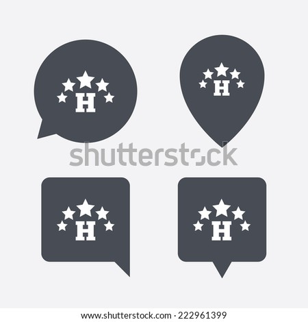 Five star Hotel apartment sign icon. Travel rest place symbol. Map pointers information buttons. Speech bubbles with icons. - stock photo