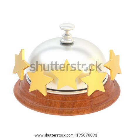 Five star hotel's reception bell isolated over the white background - stock photo