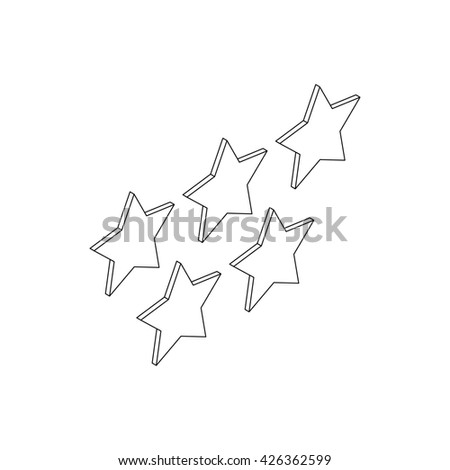 Five stars icon, isometric 3d style - stock photo