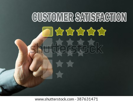 Five stars rating achieved for customer satisfaction survey - stock photo