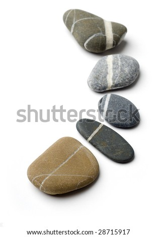 Five stepping stones with white stripes arranged to a curve.  White background. - stock photo