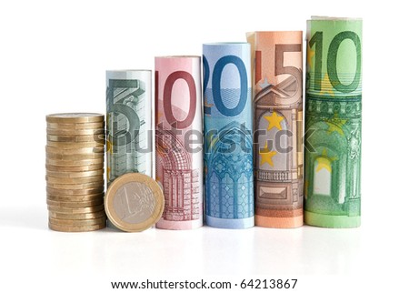 five, ten, twenty fifty and one hundred euro rolled bills, with one euro coin isolated on white background with clipping path - stock photo