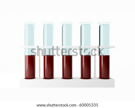 Five test tube with blood for analysis