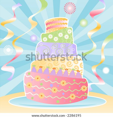 Five-tier birthday cake decorated in pastel swirls, stripes, polka-dots and flowers for the ultimate birthday celebration - colorful streamers and confetti in the background - stock photo