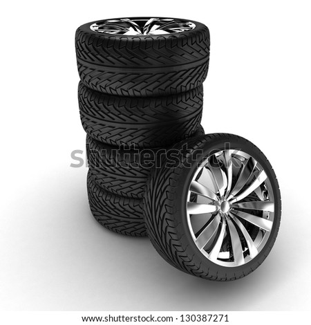 Five tires. Chromed disks. 3d render - stock photo