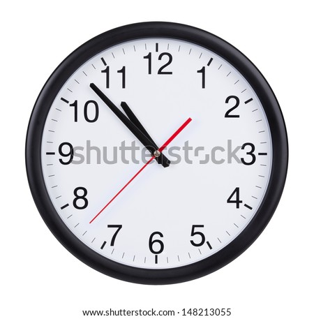 Five to eleven on a round clock face