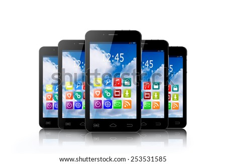 Five touchscreen smartphones with applications on screens. - stock photo