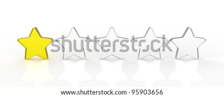 Five transparent and shiny glass stars showing the rating one out of five. One yellow and four white. - stock photo