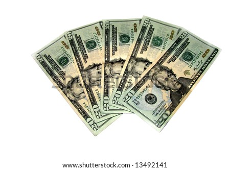Five Twenty US Dollar Bills isolated on a white background.