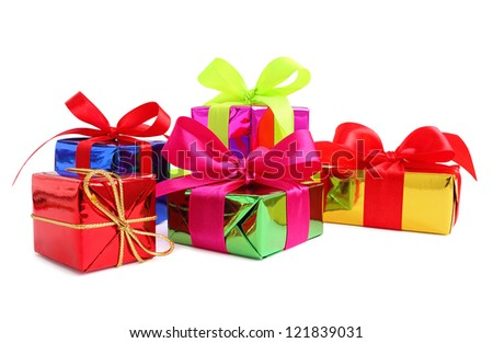 Five various glossy gift wrapped presents isolated on white - stock photo