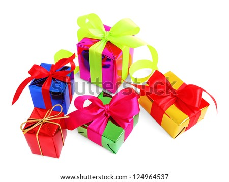 Five various glossy gift wrapped presents stock photo edit now five various glossy gift wrapped presents isolated on white negle Images