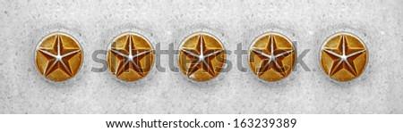 Five vintage golden star button.  - stock photo