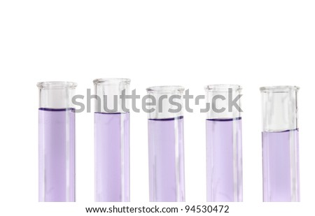 five violet colored fluid filled test tubes