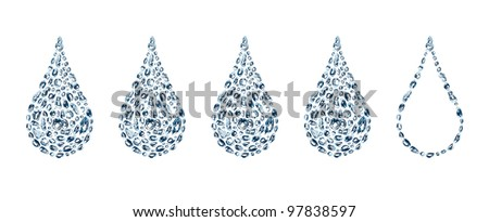 five water drops from water bubbles