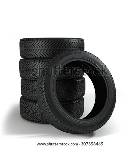 Five Wheels over the white background. - stock photo