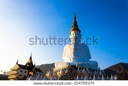 Five white Buddha in Wat Phra That Pha Son Kaew ,Khao Kho, Petch - stock photo