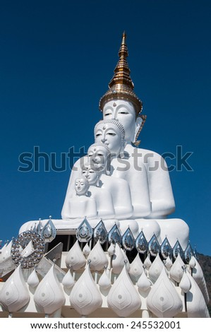 five white buddha statue,Wat Phra That Pha Son Kaew - stock photo