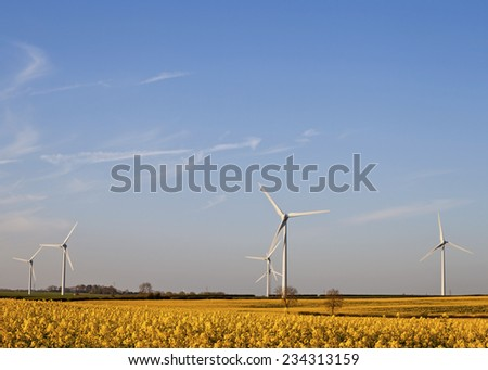 Five Wind Turbines at Yellow Rapeseed Field in Burton Latimer, United Kingdom - stock photo