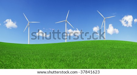 Five wind turbines on a green field. Green energy and environmental conservation symbols (XXXLarge).