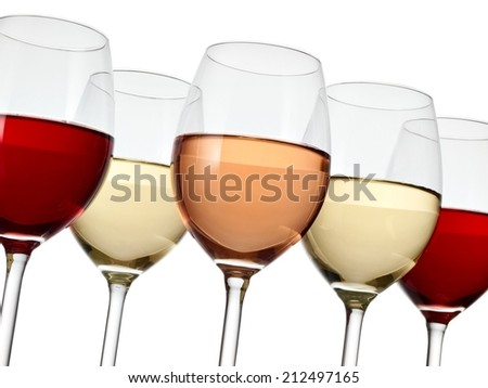 Five wine glasses