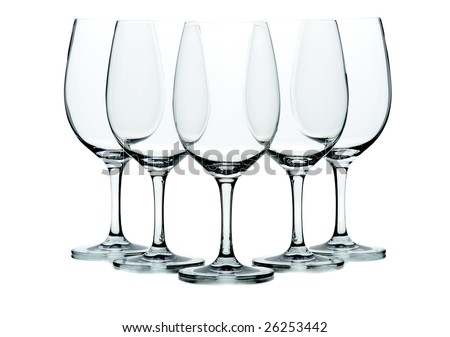 Five wine glasses isolated on white