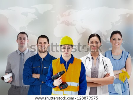 Five workers of different industries on world map background - stock photo
