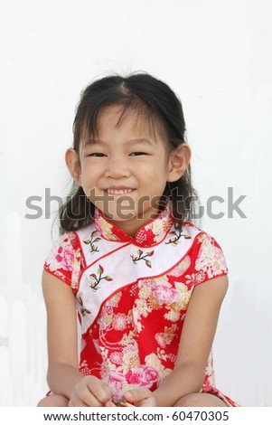 five year girl in Chinese traditional dress - stock photo