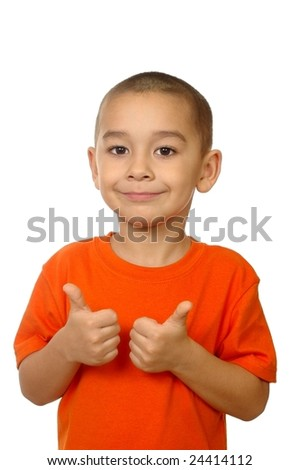 Five year old boy giving thumbs up, isolated on white - stock photo